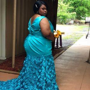Teal Mermaid Prom Dress
